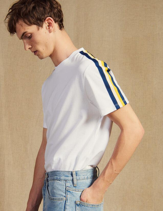 T-Shirt With Striped Braid Trim : T-shirts & Polos color white