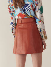 Leather Skirt With Belt : Skirts color Caramel