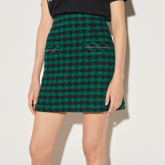 Brown and Cream Skirt Dark Academia Skirt Sandro Tweed Skirt Flecked Tweed Size 12 Skirt Parisienne Chic Vintage Midi Skirt