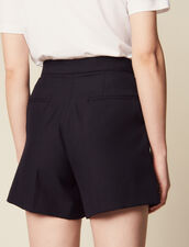 High-Waisted Shorts With Ruffles : Pants & Shorts color Navy Blue