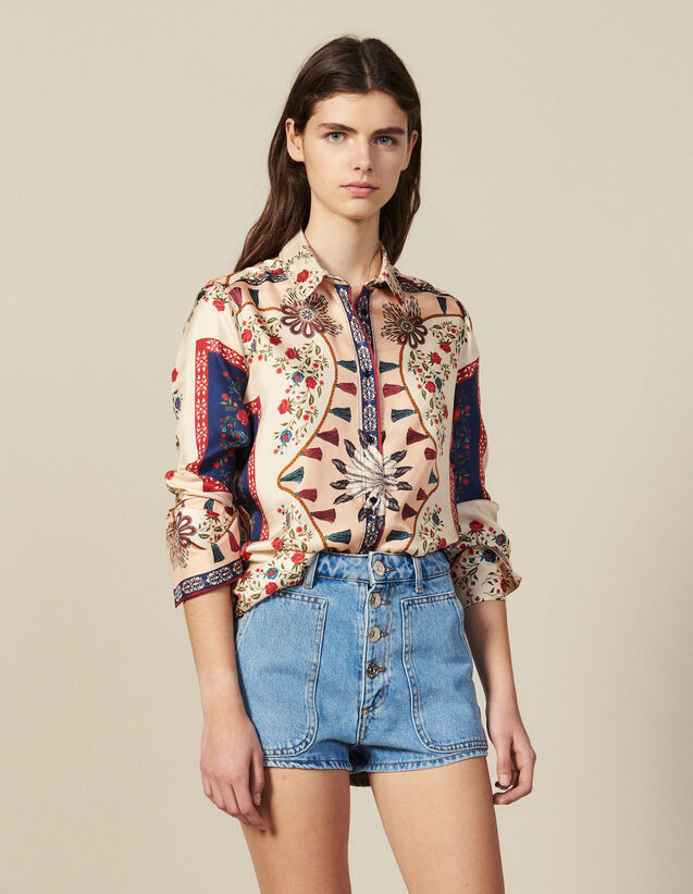 Floaty Printed Silk Shirt : Tops & Shirts color Blue