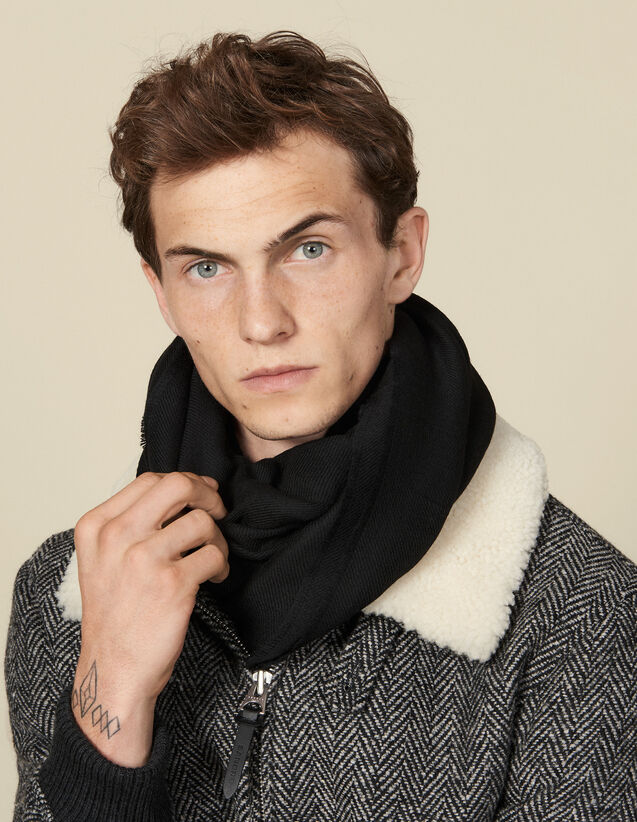 Two-tone reversible scarf : Spring Pre-Collection color Black