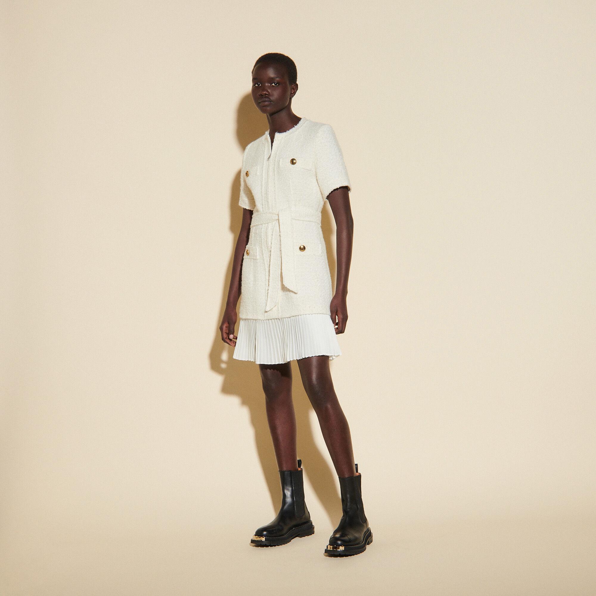Sandro Tweed-effect woollen coat dress