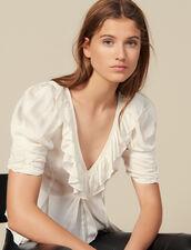Ruffle neck top : Tops & Shirts color Ecru