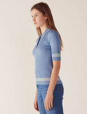 Polo Style Sweater : Tops & Shirts color Blue Jean