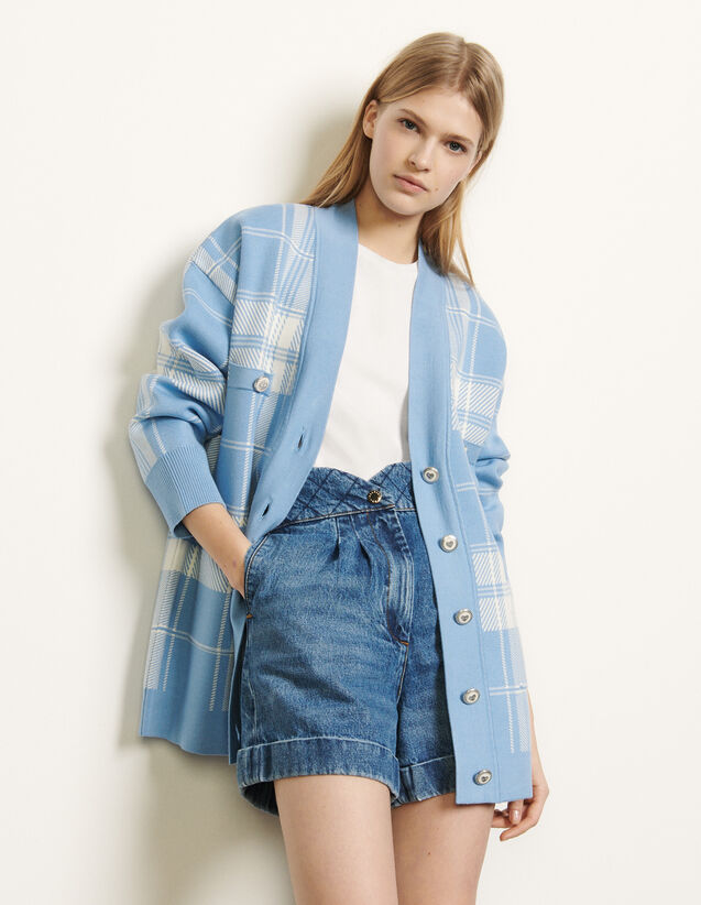 Oversized checked cardigan : Spring Pre-Collection color Blue sky