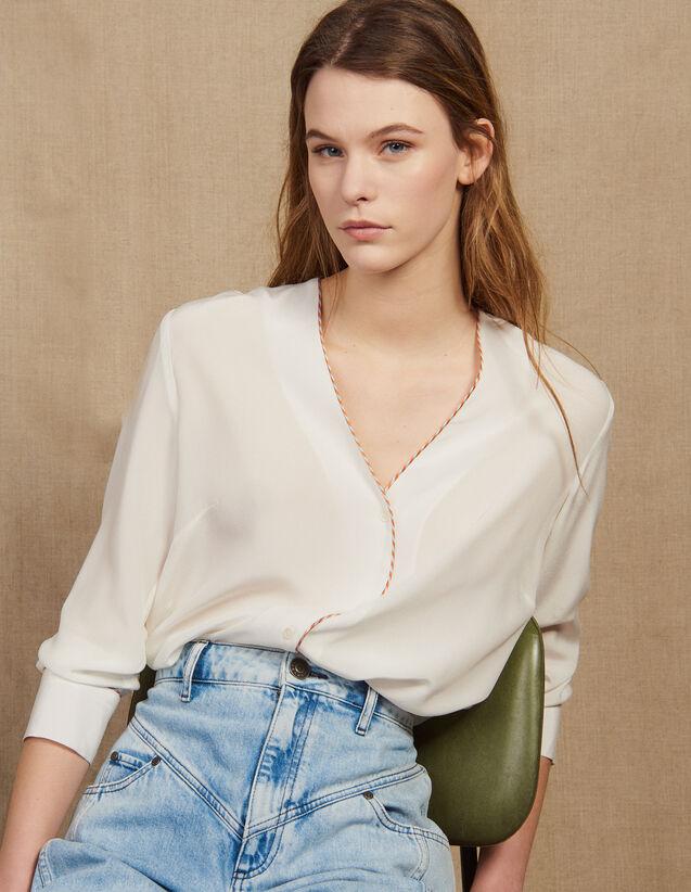 Low-Cut Silk Shirt : Tops & Shirts color Ecru