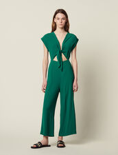Jumpsuit With Tie Fastening On The Top : Pants & Shorts color Green
