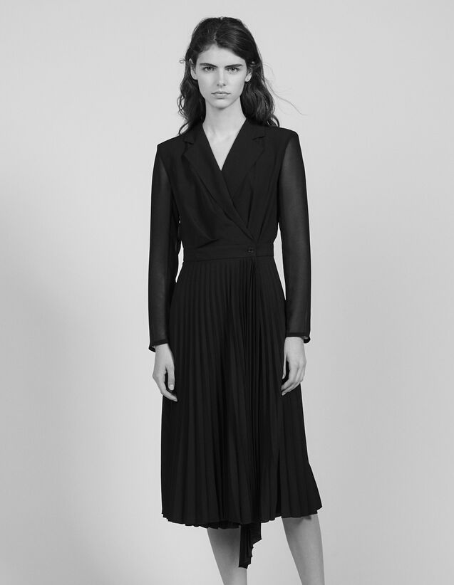 Long-sleeved dual-fabric dress : Dresses color Black
