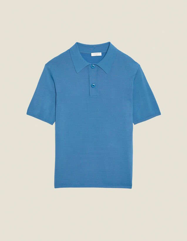Fine knit polo shirt with short sleeves : Spring Pre-Collection color Navy Blue