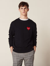 Cotton Sweatshirt With Flocked Heart : Sweaters color Navy Blue
