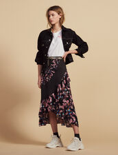 Long Floaty Printed Skirt : Skirts color Black
