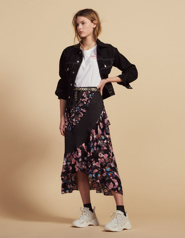 Long Floaty Printed Skirt : Skirts color Black