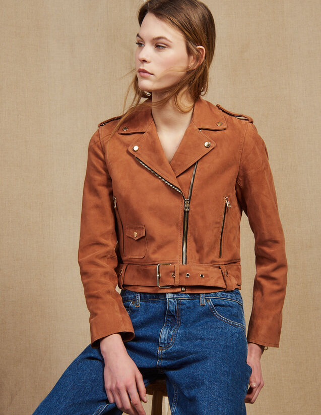Suede Perfecto Jacket : Jackets color Terracotta