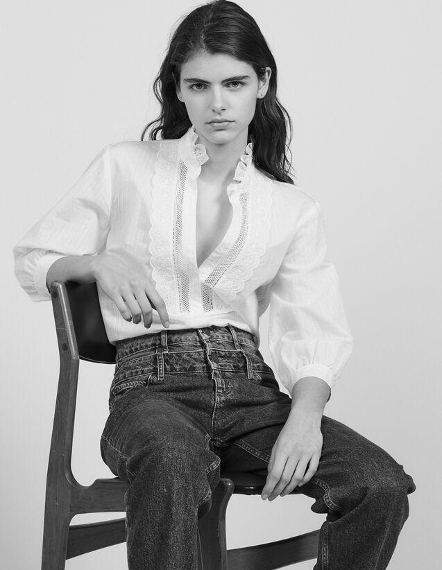 Blouse With Fine Lurex Stripes : Tops & Shirts color Ecru