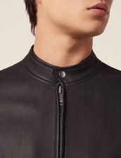 Zipped Leather Jacket : Coats & Jackets color Black