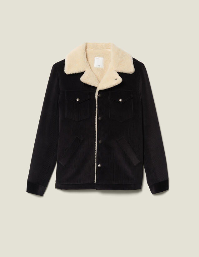 Corduroy jacket with faux-shearling lining : Jackets color Black