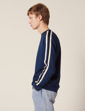 Cotton Sweatshirt With Braid Trims : Sweaters color Navy Blue