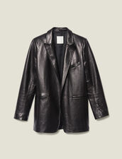 Leather Tailored Jacket : Jackets color Black
