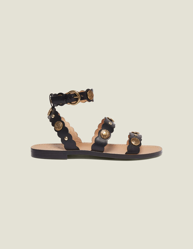 Flat Sandals With Decorative Rivets : Shoes color Black