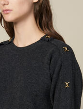 Sweater With Jewelled Buttons : Sweaters & Cardigans color Charcoal Grey