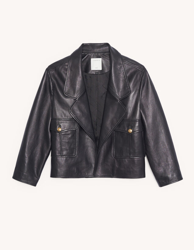 Short tailored leather jacket : Spring Pre-Collection color Black