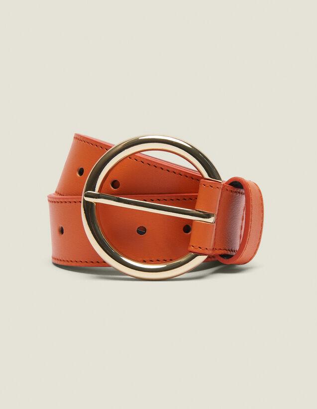 Leather Belt : Other Accessories color Orange