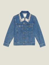 Denim Jacket With Rhinestone Fringe : Coats & Jackets color Blue Vintage - Denim