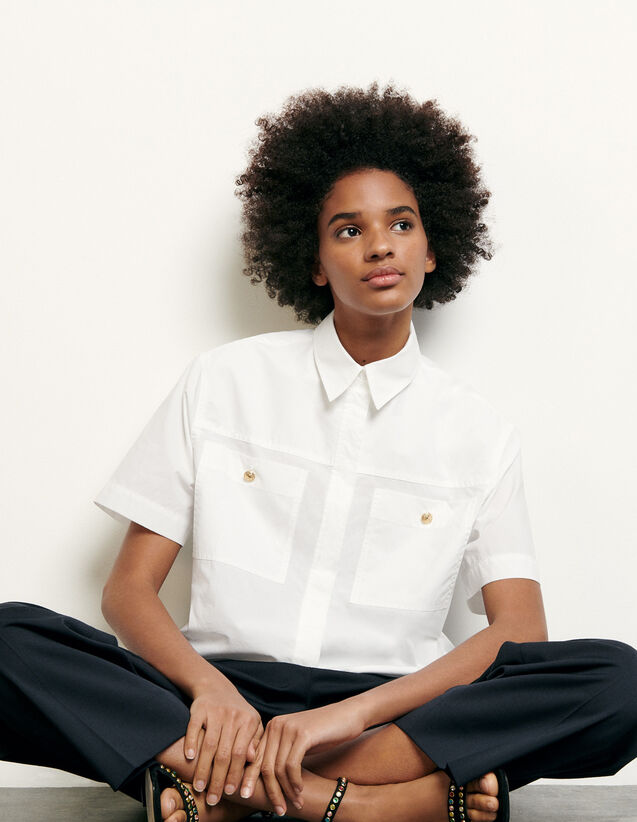 Cropped shirt with patch pockets : Spring Pre-Collection color Optical White