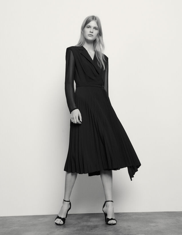 Long-sleeved dual-fabric dress : Spring Pre-Collection color Black