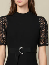 T-Shirt With Guipure Sleeves : Tops & Shirts color Black