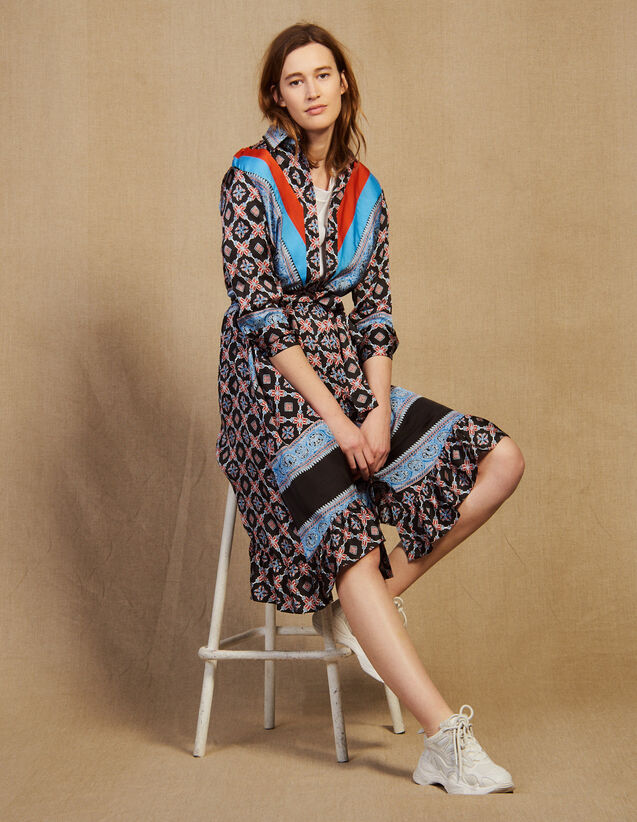 Flowing Printed Shirt Dress : Dresses color Blue