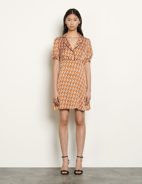 Short printed dress : Dresses color Nude
