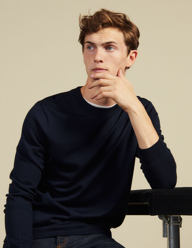Fine Knit Wool Sweater : Sweaters color Navy Blue