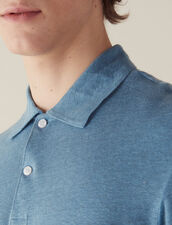 Short-Sleeved Linen Polo Shirt : T-shirts & Polos color Light Blue