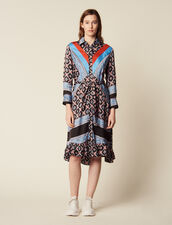 Flowing Printed Shirt Dress : Dresses color Blue