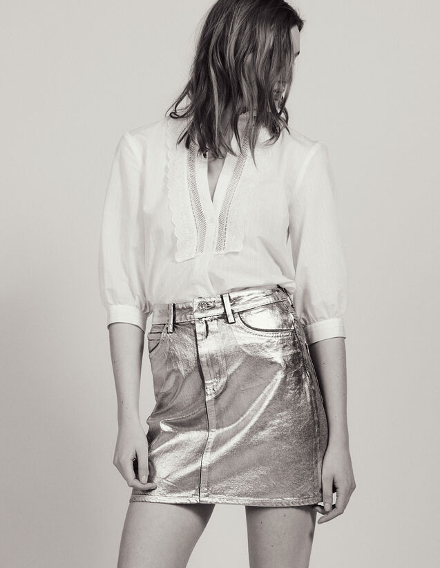 Coated Denim Skirt With Silver Effect : Skirts color Silver