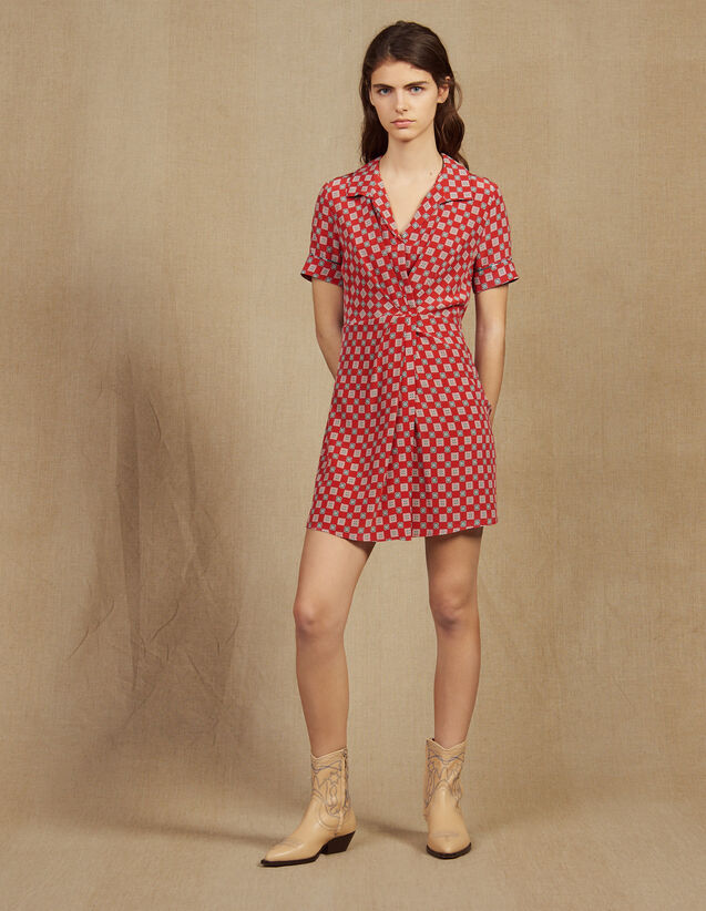 Short Printed Silk Dress : Dresses color Red