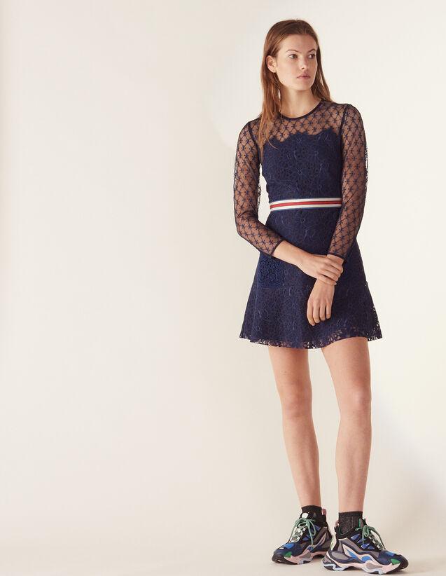 Short Lace Dress : Dresses color Navy Blue