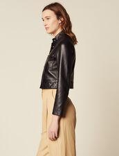 Cropped Leather Jacket : Coats & Jackets color Black