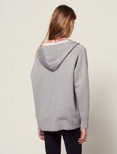 Hoodie Cardigan With All-Over Lining : Sweaters color Grey