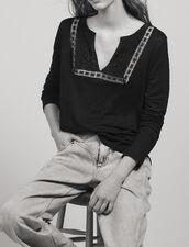 Linen T-Shirt With Grandad Neckline : Tops & Shirts color Black