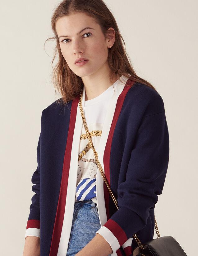Fine Knit Collegiate Cardigan : Sweaters color Navy Blue