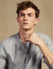 Striped Cotton Tunic : Shirts color White/Blue