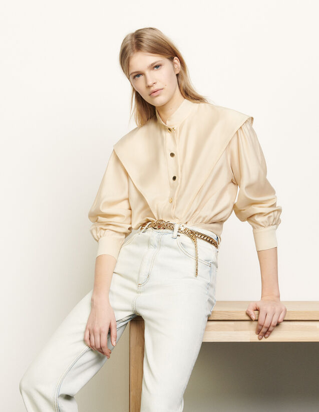 Short shirt with mandarin collar : Spring Pre-Collection color Beige