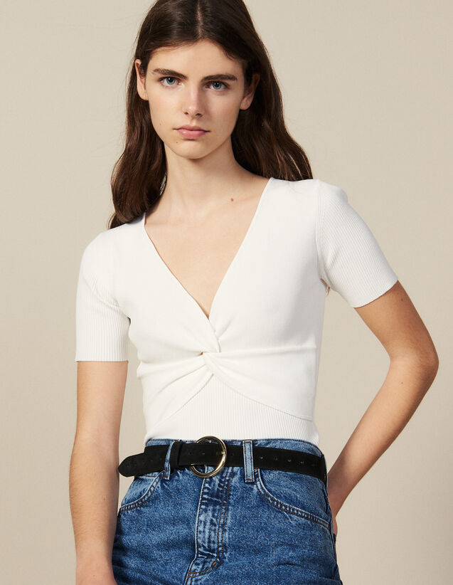 Ribbed knit cropped top : Sweaters color white