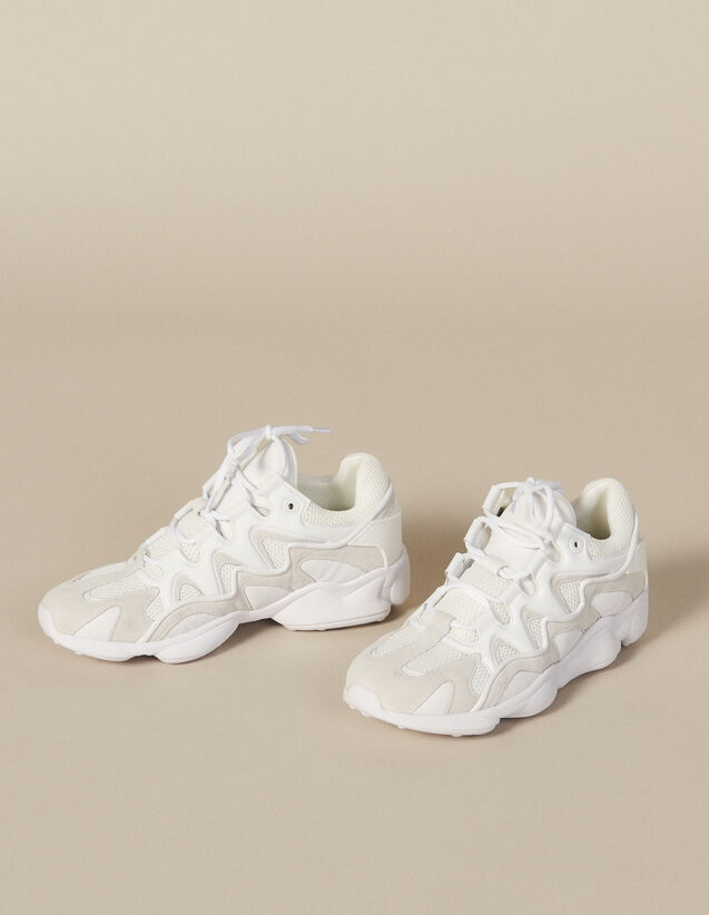 Sneakers In Mixed Materials : Shoes color white