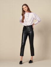 Straight Leather Trousers With Seaming : Pants & Shorts color Black