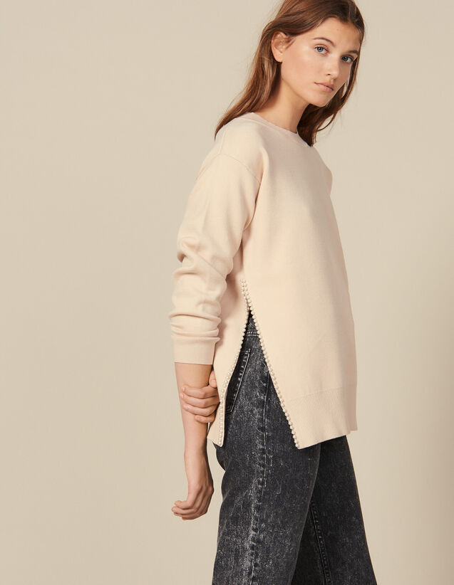 Bead-Embroidered Sweater With A Vent : Sweaters color Beige