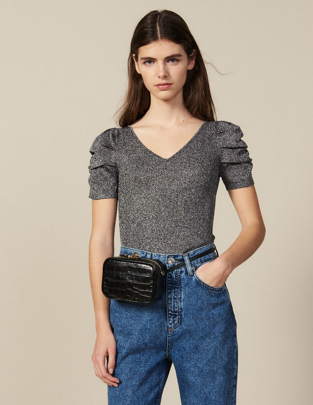 Lurex Knit Top With Puff Sleeves : New Collection color Silver
